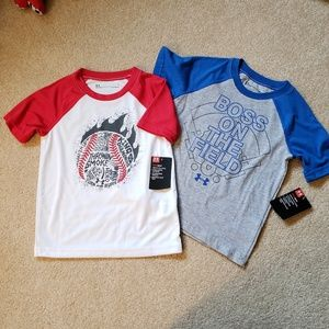 2 Under Armour Baseball T shirts Size 4